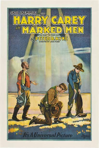 OLD MOVIE PRINT Marked Men Poster Center Harry Carey 1919