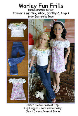 """Fun Frills Doll Clothes Sewing Pattern 12"""" Marley & 14"""" Patience Tonner"""