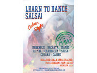 CUBAN SALSA CLASS 1 TO 1 FRIDAY AND SATURDAYS.