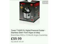 Tower 5L Digital Pressure Cooker - Stainless Steel