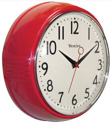Westclox 32042R Retro Look Red Kitchen 9.5 Battery Wall Clock with Second Hand