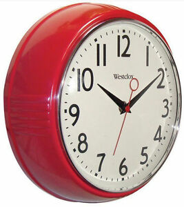 Westclox-Retro-Red-Kitchen-9-5-Wall-Clock-Second-Hand-Batt-New-Free-US-Shipping