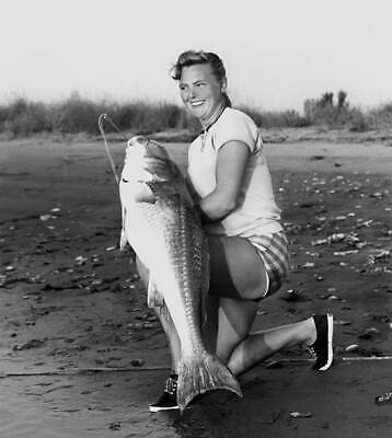 Red Drum (Redfish, Channel Bass) On 30 Pound Line 1965 OLD FISHING PHOTO