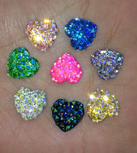 DIY 40PCS AB Resin Heart flatback Scrapbooking for phone/wedding/ Pick Color NEW