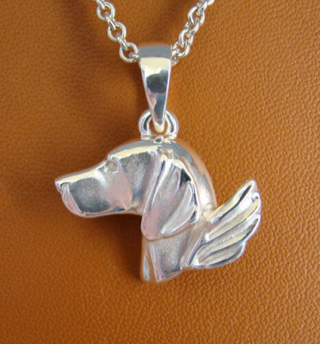 Large Sterling Silver Vizsla Angel Pendant