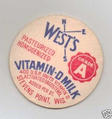 Milk Bottle Cap  Wests Dairy  Stevens Point  Wi