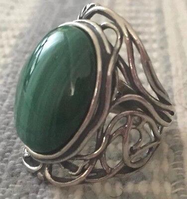 Sterling Silver Gemstone Scroll Design Ring, Malachite by Or Paz 7