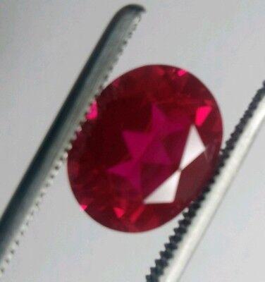 Oval Cut 6 x 4 mm Lab Created Ruby Loose Gemstone lot of 2
