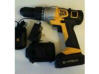 JCB 20 volt lithium ion cordless Combi Drill comes with 2 batteries and charger