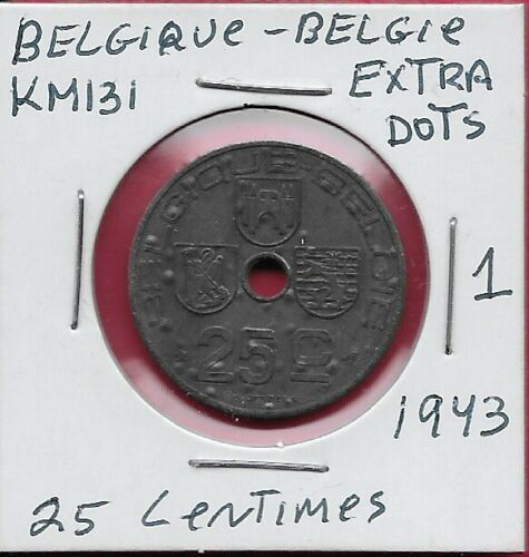 BELGIUM KINGDOM 25 CENTIMES 1943 XF (ERROR)BELGIQUE-BELGIE,LEGEND IN FRENCH CENT