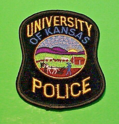 "UNIVERSITY  OF KANSAS  POLICE PATCH  3 7/8""  FREE SHIPPING!!!"