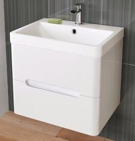 Modern Bathroom High Gloss White Basin Vanity Unit – Wall Hung – RRP £220