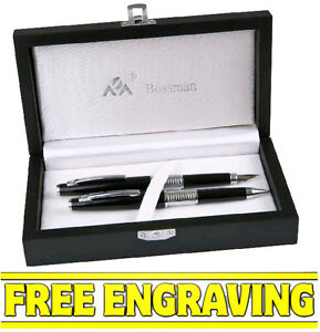 BOSSMAN BLACK & SILVER BALLPOINT & FOUNTAIN PEN GIFT SET ( Free Engraving )