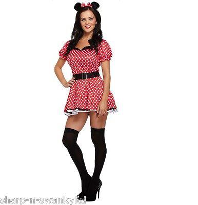 Damen Rote Fräulein Minnie Maus Party Kostüm Outfit Std & - Übergröße Maus Kostüm