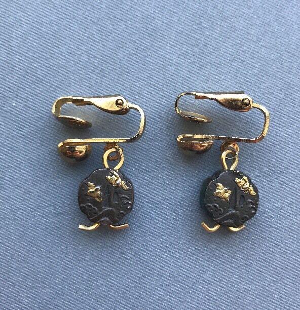 A Pair Of Meiji Era Antique Japanese Shakudo Decorated Tsuba Earrings