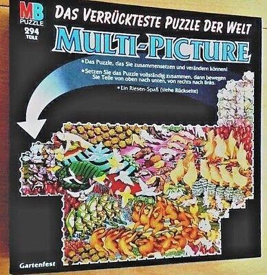 MB Puzzle*MULTI-PICTURE*Gartenfest*294 Teile*verückteste Puzzle der Welt VINTAGE