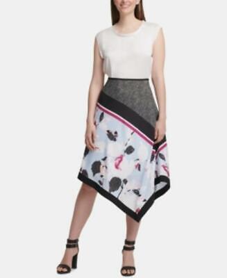 Dkny Women's Mixed-Print Asymmetrical Skirt Blue Size 14