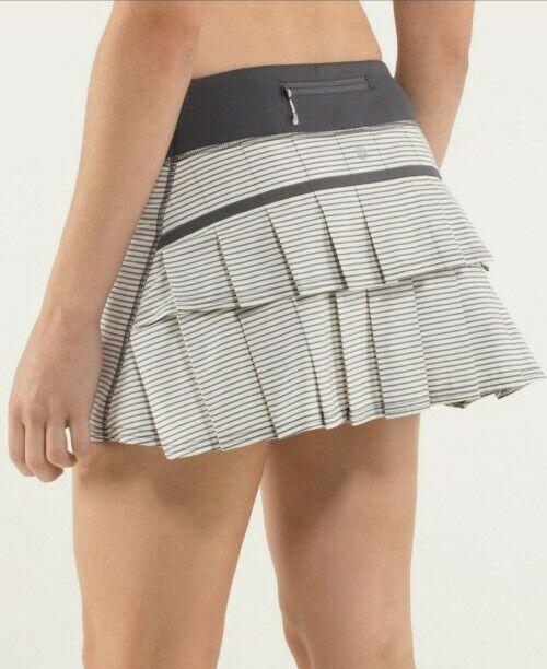 Lululemon Sz 10 Pace Setter Skirt Hyper Stripe Angel Wing Soot Slalom