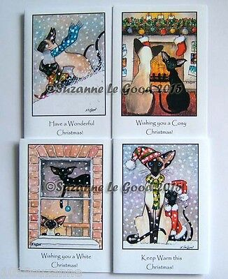 8 ORIGINAL SIAMESE ORIENTAL CAT PAINTING CHRISTMAS CARDS  SUZANNE LE GOOD