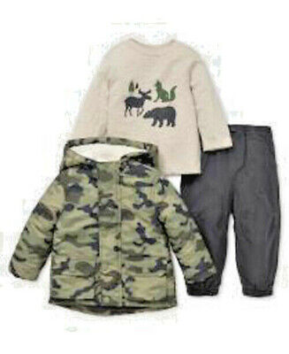 LITTLE ME 3 pc Hooded Camo Jacket, LS Knit Top w/Twil Pants Outfit BOY SIZES NWT
