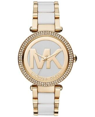 Michael Kors Women's MK6313 Parker Gold Tone With Mk logo with Crystal Bezel