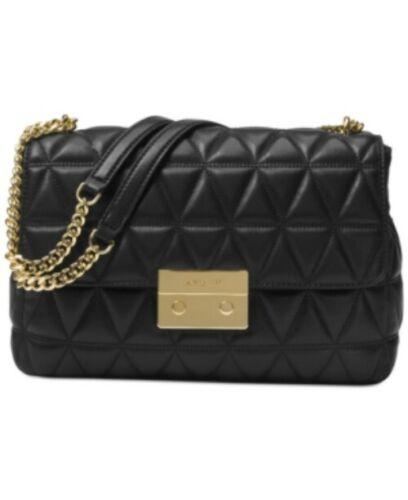 Michael Kors Sloan XL Chain Leather Shoulder Bag Black/Gold
