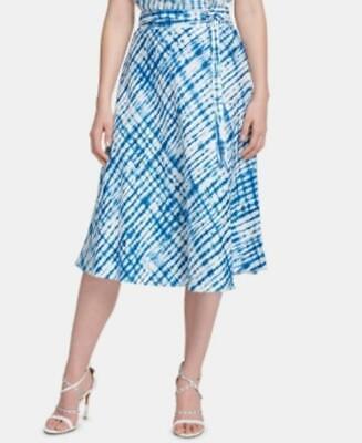 Dkny Women's Linen Belted Midi Skirt Blue Size 14