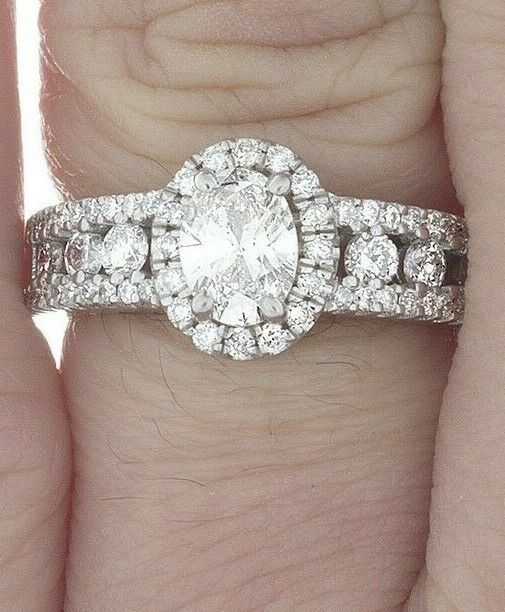 GIA Certified Diamond Engagement Ring 2.00 CTW Oval & Round Cut 18k White Gold