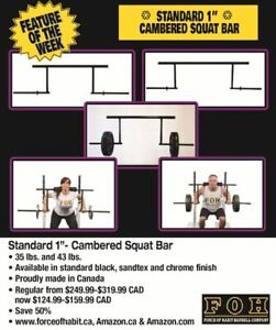 """Cambered Squat Bar- Standard 1""""- 50% off Spring Sale"""