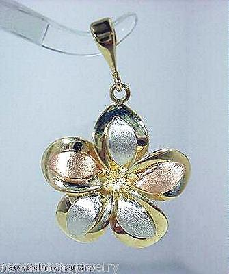 21MM SOLID 14K TRICOLOR GOLD HAWAIIAN SATIN INSERT PLUMERIA FLOWER SMALL -