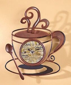 Coffee Cafe Latte Cup Theme Kitchen Wall Art Clock Metal Home Decor Great Gift