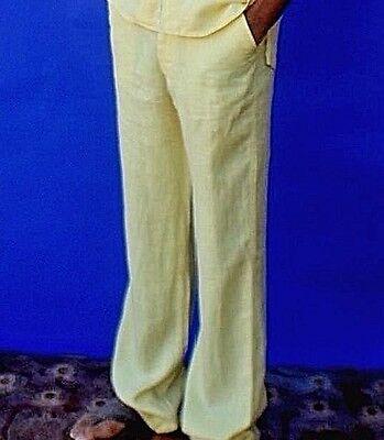 Men's Premium Beach Linen Pants - Destination Wedding Draw String - Light Yellow