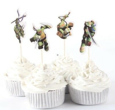 NEW TMNT Ninja Turtles Theme Character Cupcake Toppers x 24 - For Parties - Ninja Turtle Themed Party