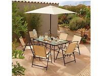 Miami bistro large table, 6 chairs, umbrella, and 4 blue pads