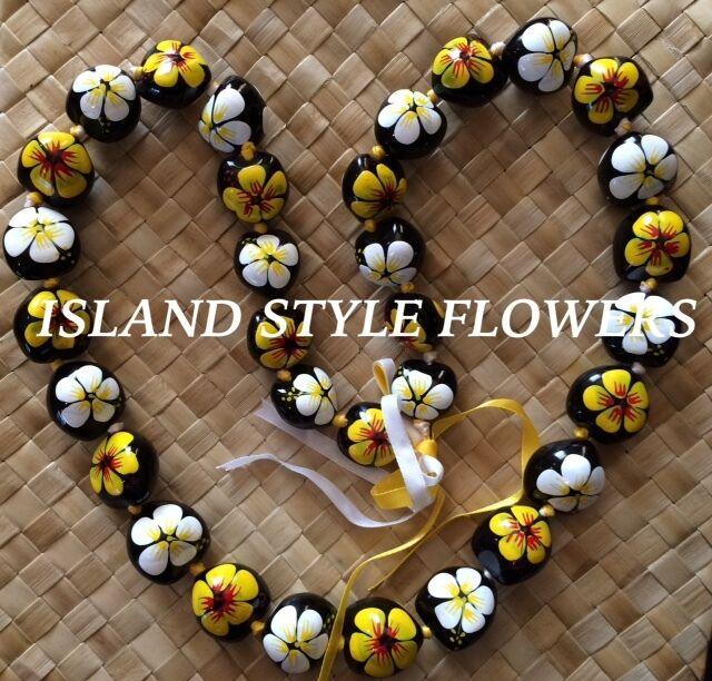 Hawaii Wedding YELLOW WHITE Kukui Nut Lei Graduation Luau Hula Necklace Hibiscus