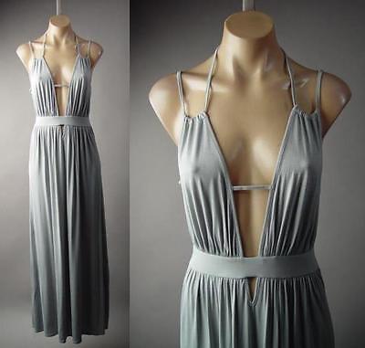 Gray Strappy Plunge V Neck Grecian Goddess Jersey Long Maxi 219 mv Dress S M L - Grecian Goddess