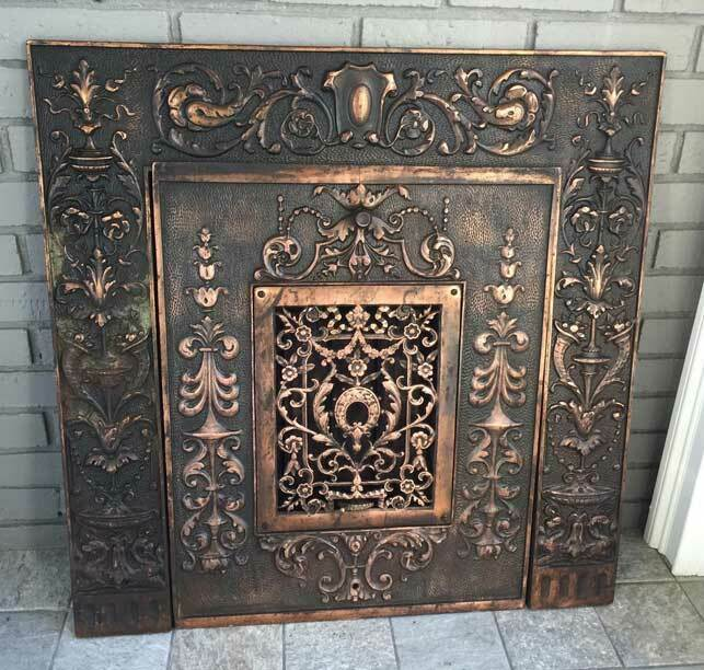 ANTIQUE Iron FIREPLACE COVER & FRAME ORNATE, VICTORIAN  *OUTSTANDING*