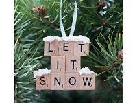 2 Christmas Tree Ornaments Handmade 'let it snow'