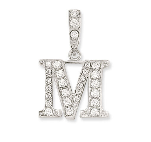 925 Sterling Silver White CZ Initial S Pendant Cubic Zirconia
