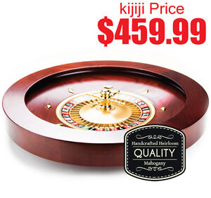 DELUXE WOODEN ROULETTE WHEEL - 20 INCH MAHOGANY STAIN
