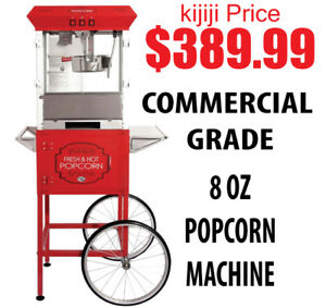 8oz Commercial Grade Popcorn Machine w Cart Red or Black