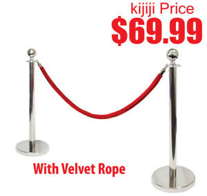 Silver or Gold Stanchion Kit w/ Red Velvet Rope, 2 Poles 1 Rope