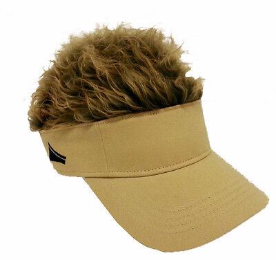 FLAIR HAIR HATS WITH HAIR KHAKI VISOR BROWN HAIR QUALITY SURF SNOW GOLF - Golf Visor With Hair