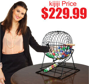 "PROFESSIONAL BINGO SET WITH 19"" CAGE, 1.5"" BALLS AND HEAVY WOODE"