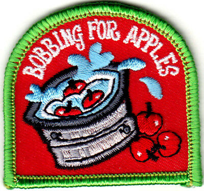 Games On Halloween Party (BOBBING FOR APPLES Iron On Patch Games Fun Halloween Party)