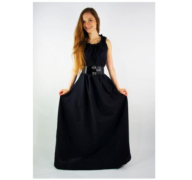Mittelalter Larp Gewandung Kleid Gewand ärmelos Sommer Überkleid hemp od schwarz