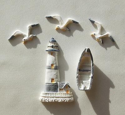 Streuteile 'Meeresbrise' Leuchtturm, Boot, Möwen, maritim
