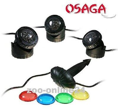 OSAGA LED-Beleuchtung 3er Set für Garten, Teich & Pool, auch Unterwasser