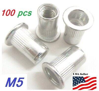 100 Pcs Flat Head Aluminum M5 Rivet Nut Rivnut Nutsert