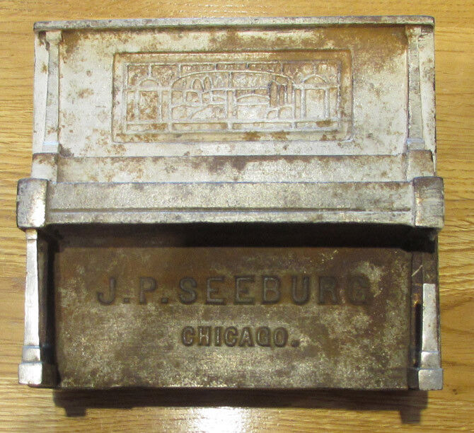 **SALE, PRICE CUT***ORIG SEEBURG NIC. PLATED CAST IRON COIN BOX FOR PLAYER PIANO